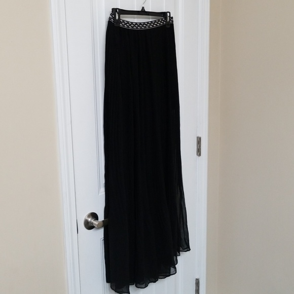 8a9b89d91e3823 Love Riche Skirts | High Waisted Black Pleated Maxi Skirt | Poshmark